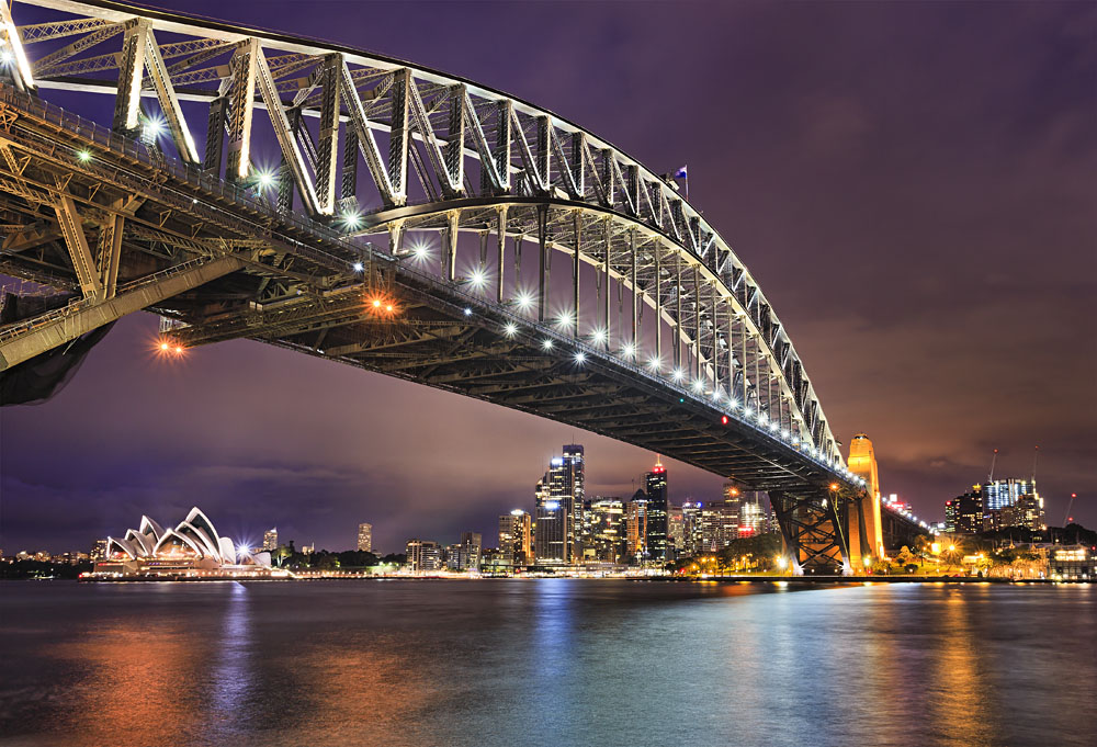 Sydney Harbour Bridge at Night with Opera House in Background, Australia
