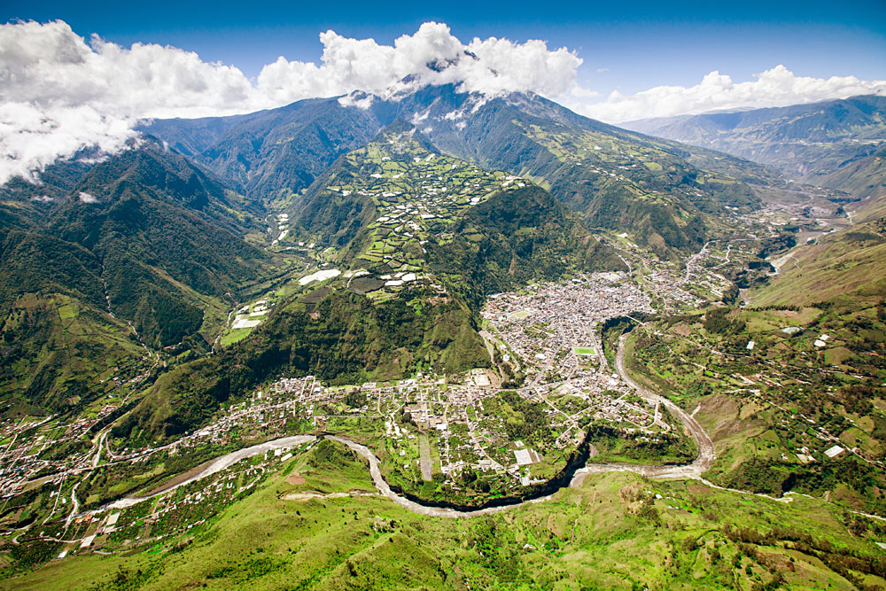 Aerial Shot of Banos with Tungurahua Volcano in Background, Ecuador
