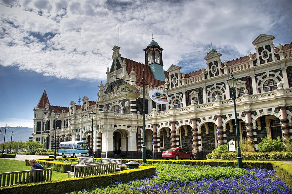 Anzac Square and Dunedin Railway Station, Dunedin, New Zealand