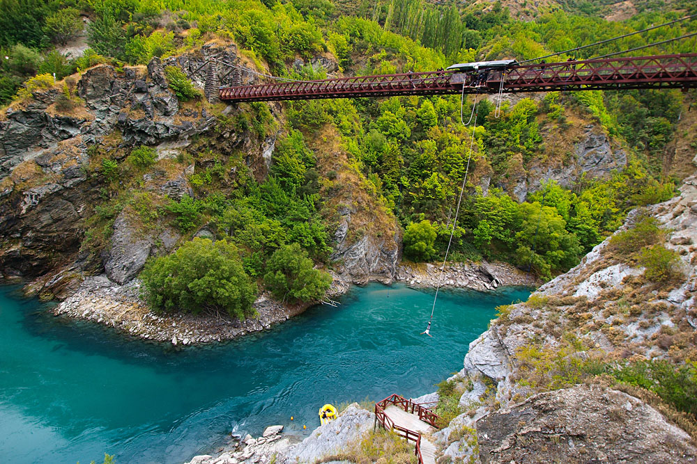 Bungy Jumping Off Kawarau Bridge near Queenstown, New Zealand