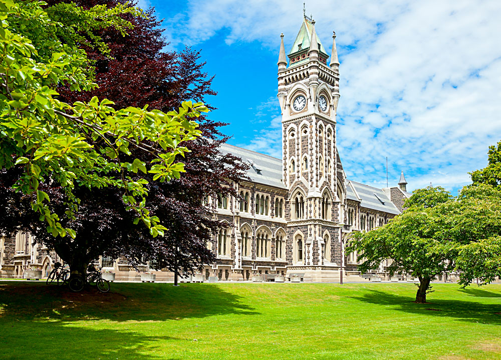 Clocktower of Registry Building at University of Otago, Dunedin, New Zealand