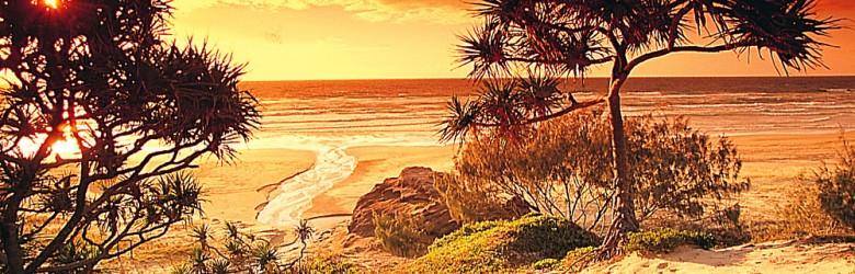 Fraser Island Beach at Sunset, Queensland, Australia