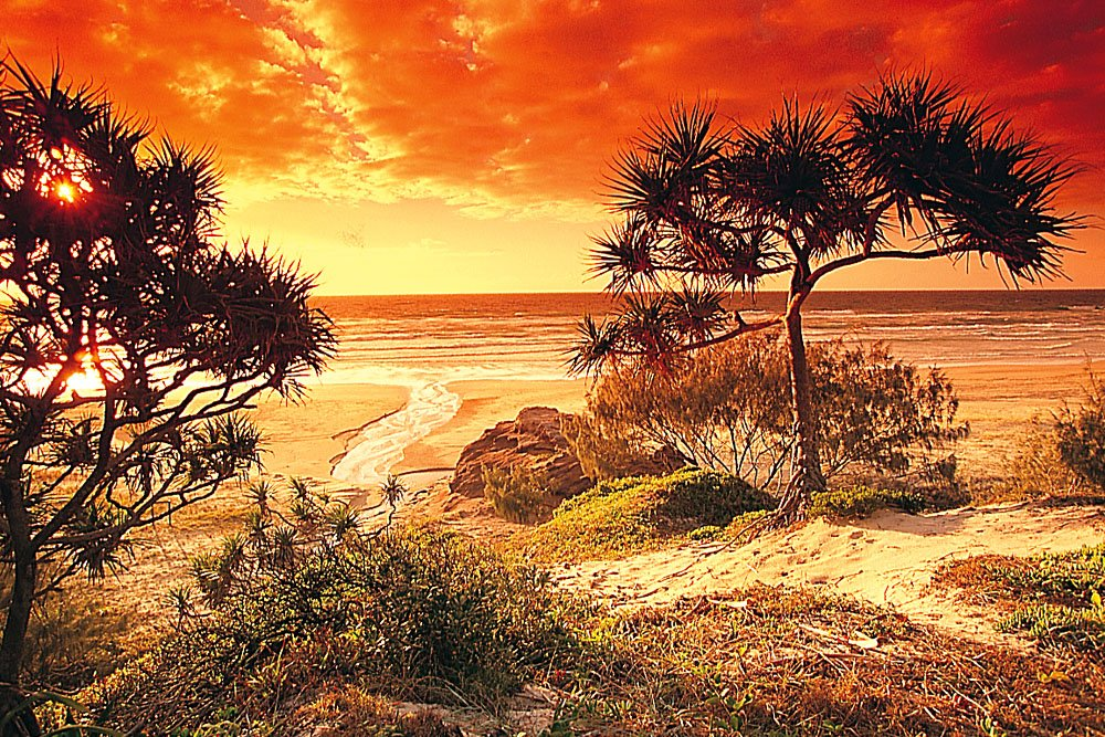 Fraser Island Beach at Sunset, Queensland, Australia