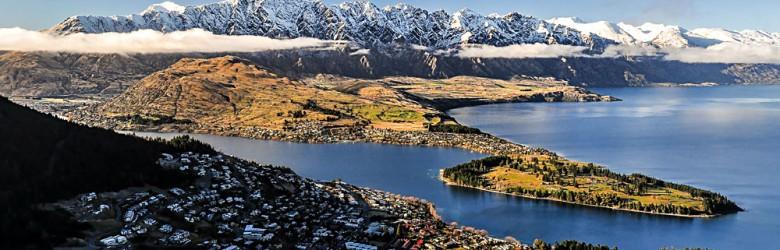 Queenstown and Lake Takapitu from Skyline Queenstown Gondola, Queenstown, New Zealand