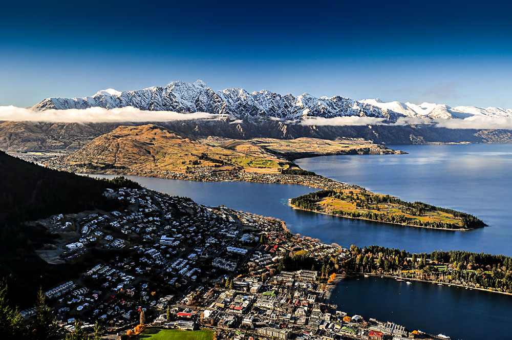 Queenstown and Lake Takapitu from Skyline Queenstown Gondola, Queenstown, New Zealand