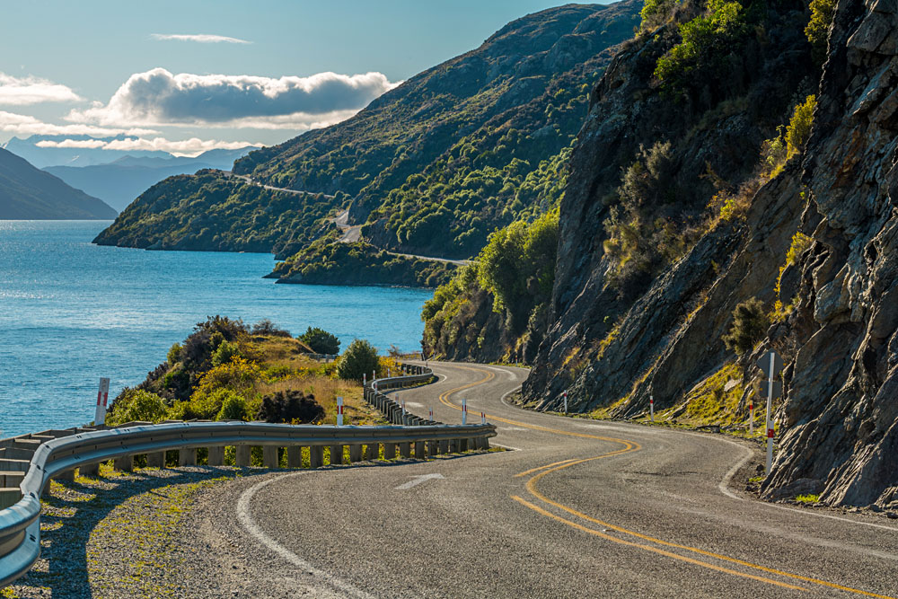 Road along Lake Wakatipu, Queenstown, New Zealand