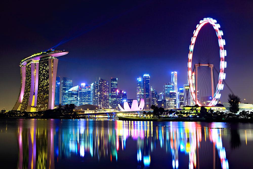Singapore City Skyline at Night, Singapore