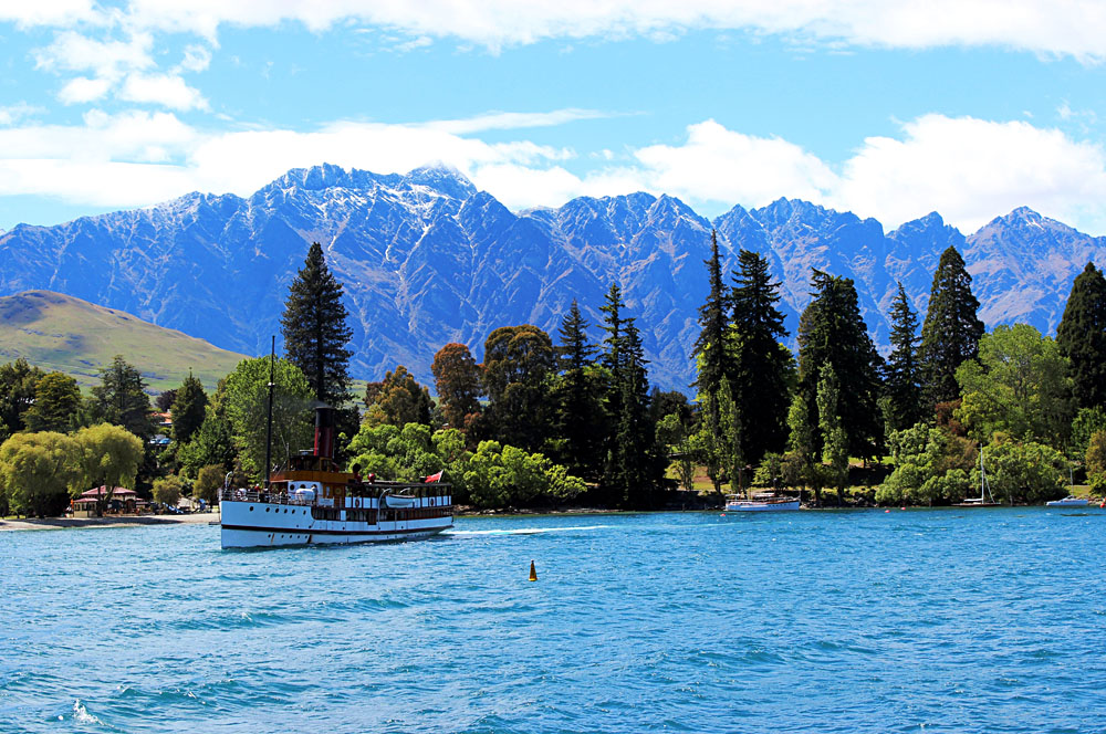The Remarkables Mountain Range with SS Earnslaw in Lake Wakatipu, Queenstown, New Zealand