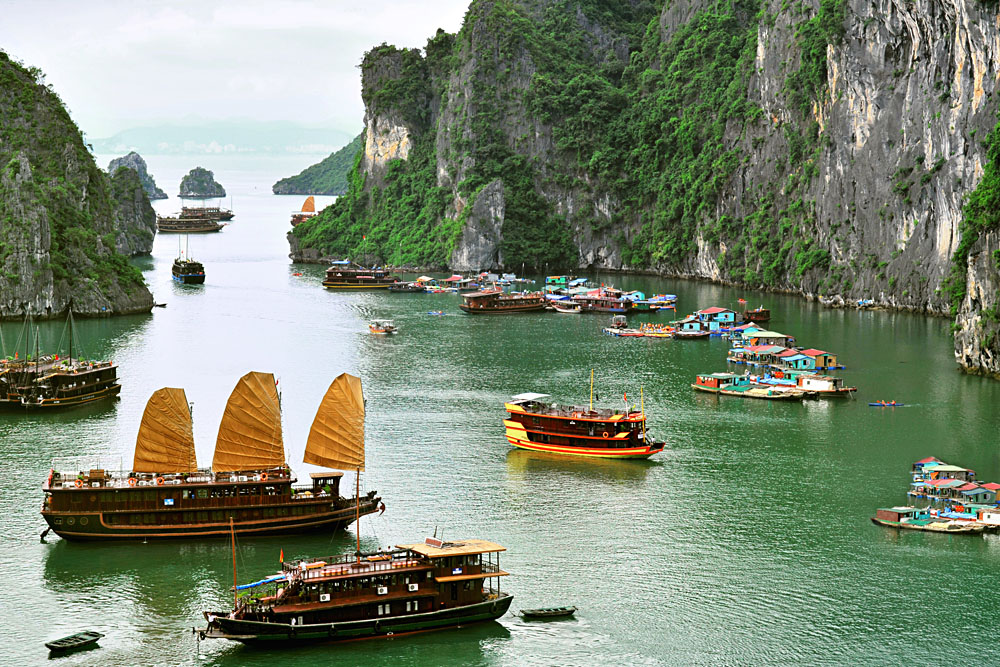 Tourist Junks, Halong Bay, Vietnam