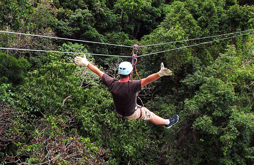 Zip lining at Momi Bay, Fiji