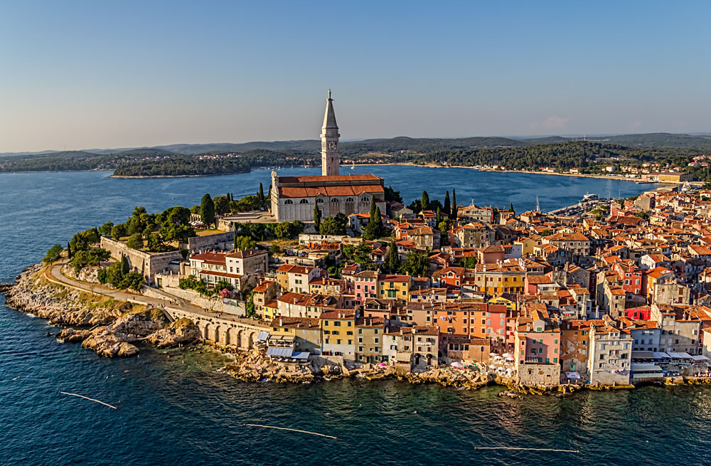 Aerial View of Old town Rovinj at Sunset, Istra Region, Croatia