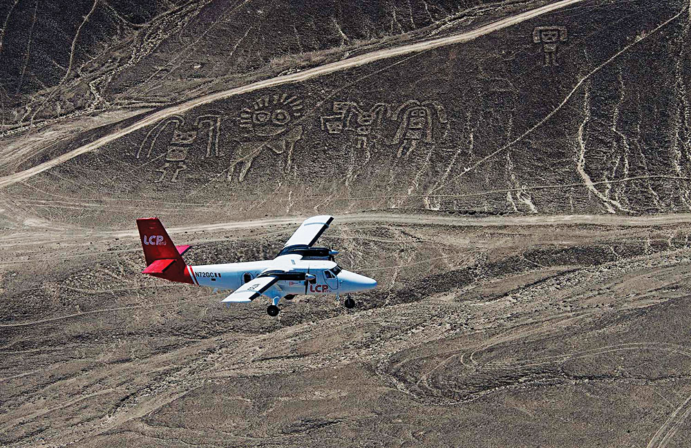 Aerial View of Plane Over the Nazca LInes, Peru