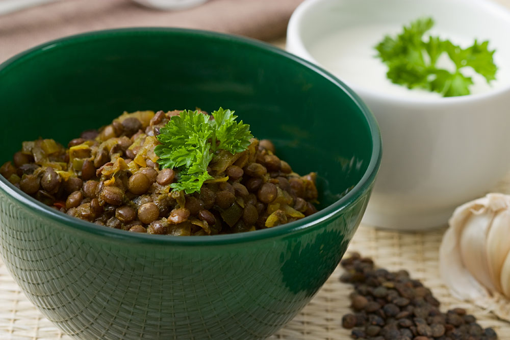 African Hotpot Lentils in Green Bowl