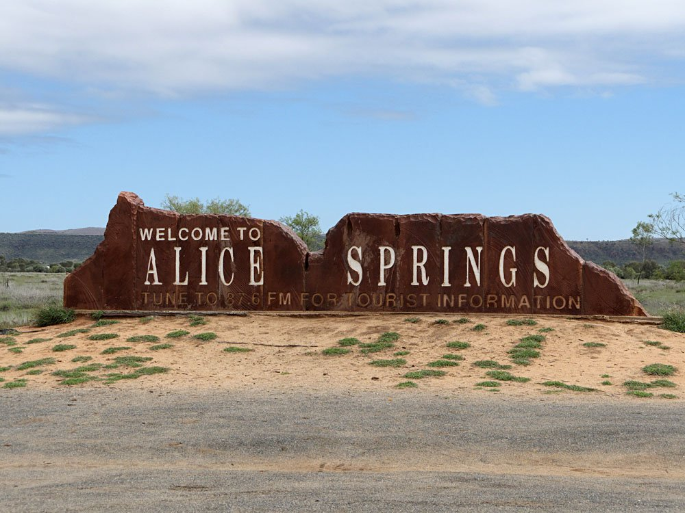 Alice Springs Welcome Road Sign, Northern Territory, Australia