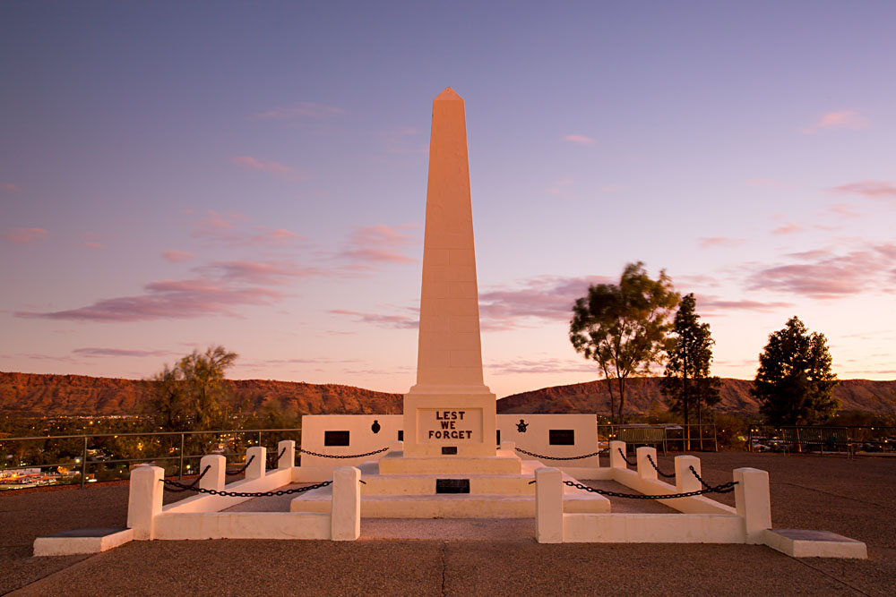 Anzac Hill Memorial on a Clear Winter's Evening in Alice Springs, Northern Territory, Australia