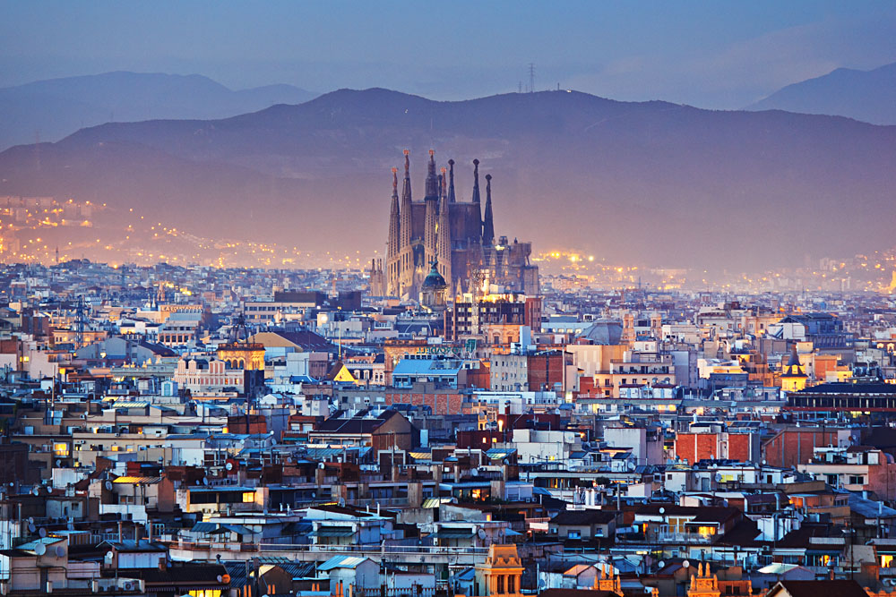 Barcelona at Night with Sagrada Familia, Spain