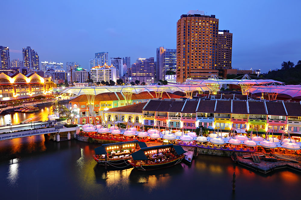 Clarke Quay at Night, Singapore