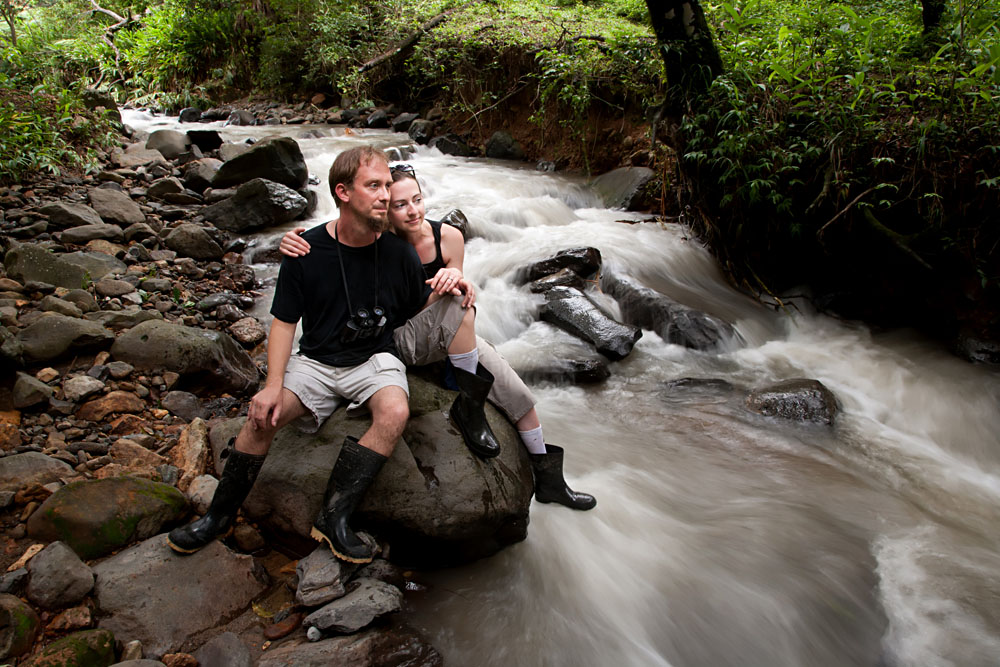 Couple Relaxing Near River, Costa Rica