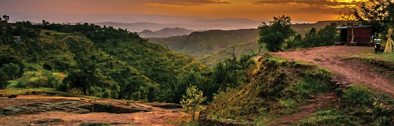 Evening View with Church of St. George in Lalibela, Ethiopia