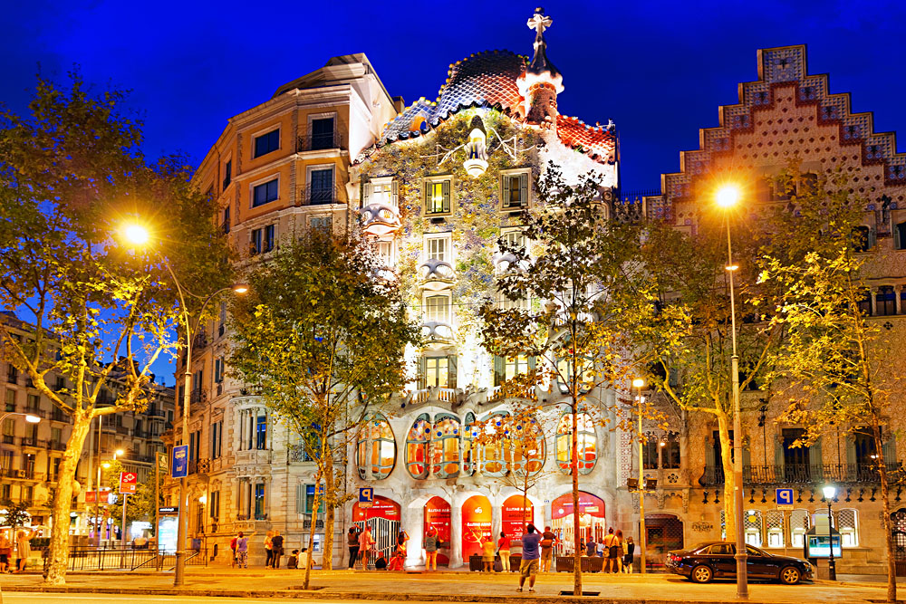 Exterior view of Casa Batlo at Night, Barcelona, Spain