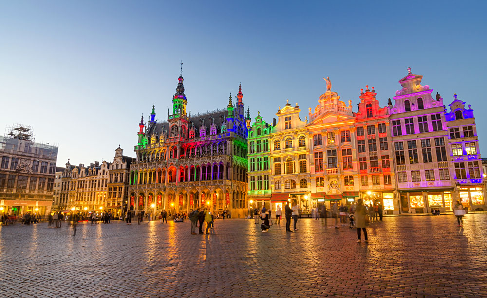 Grand Place with Colourful Lighting at Dusk in Brussels, Belgium