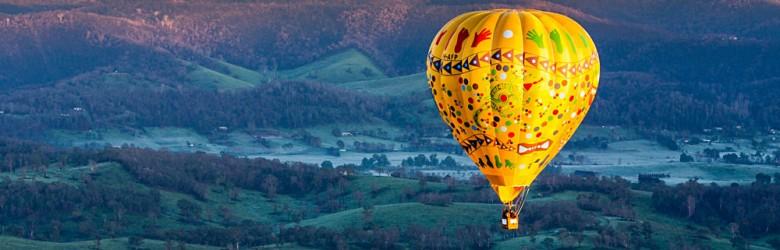 Hot Air Balloon Flight at Sunrise Over the Yarra Valley in Victoria, Australia