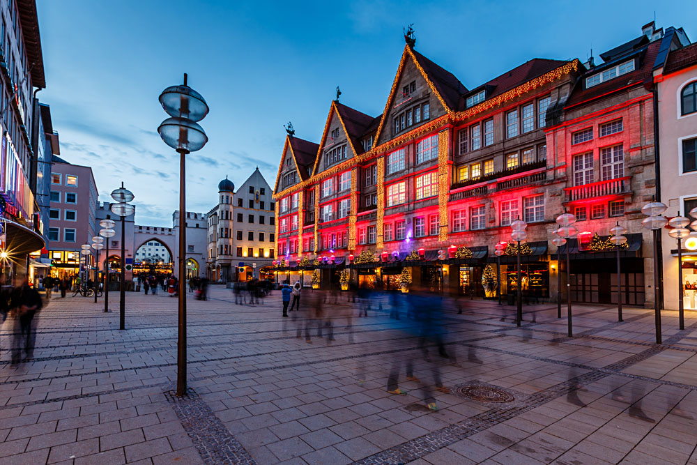 Illuminated Neuhauser Street and Karlsplatz Gate in the Evening, Munich, Germany