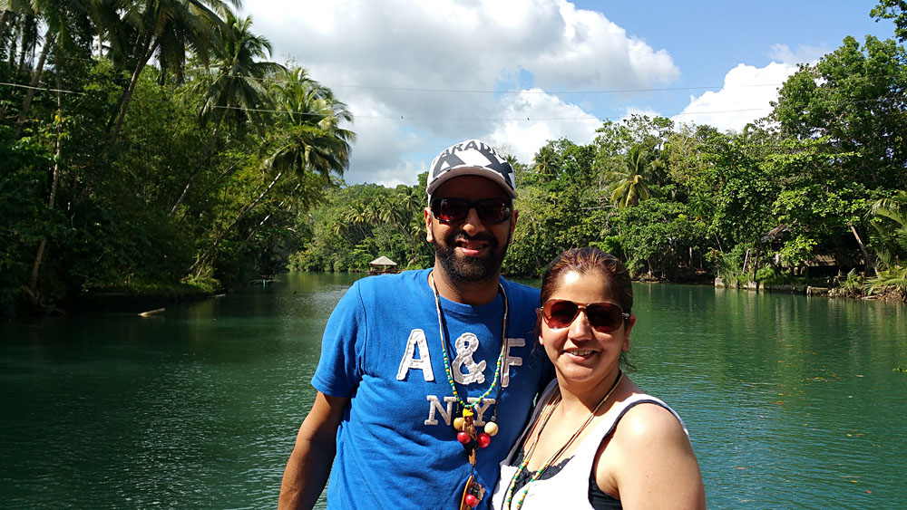 Karishma and Husband at River Barge in Bahol, Philippines