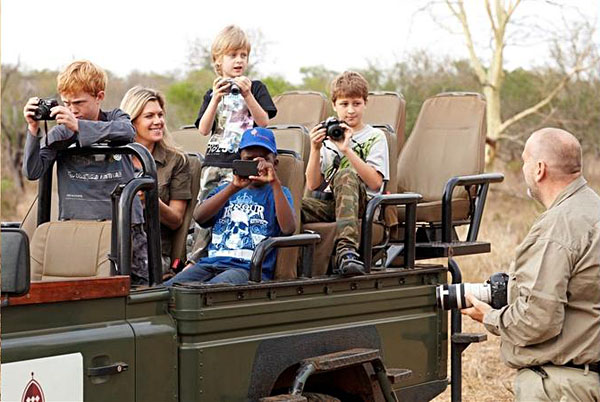 Kids on Safari with Cameras at Thanda Safari Game Reserve, South Africa