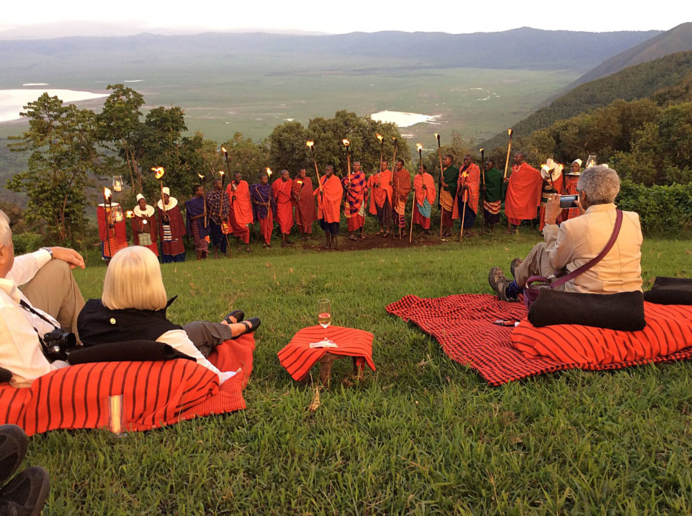 Masai Tribe Performing During Sundowner at Ngorongoro Crater Lodge, Tanzania