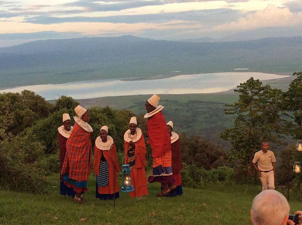 Masai Women Jumping During Sundowner at Ngorongoro Crater Lodge, Tanzania