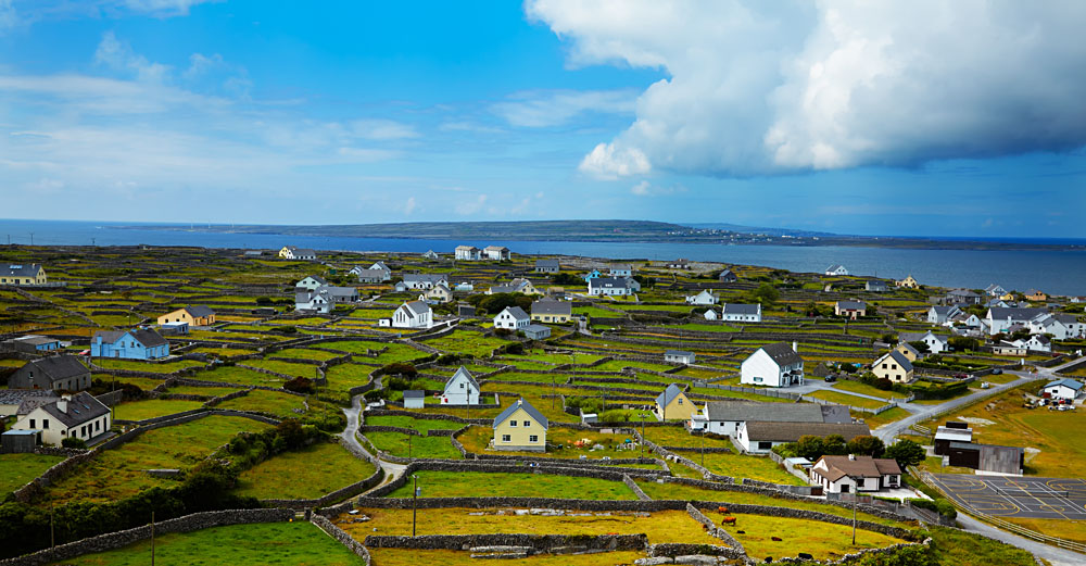 Panoramic Landscape of Inisheer Island, Part of Aran Islands, Ireland