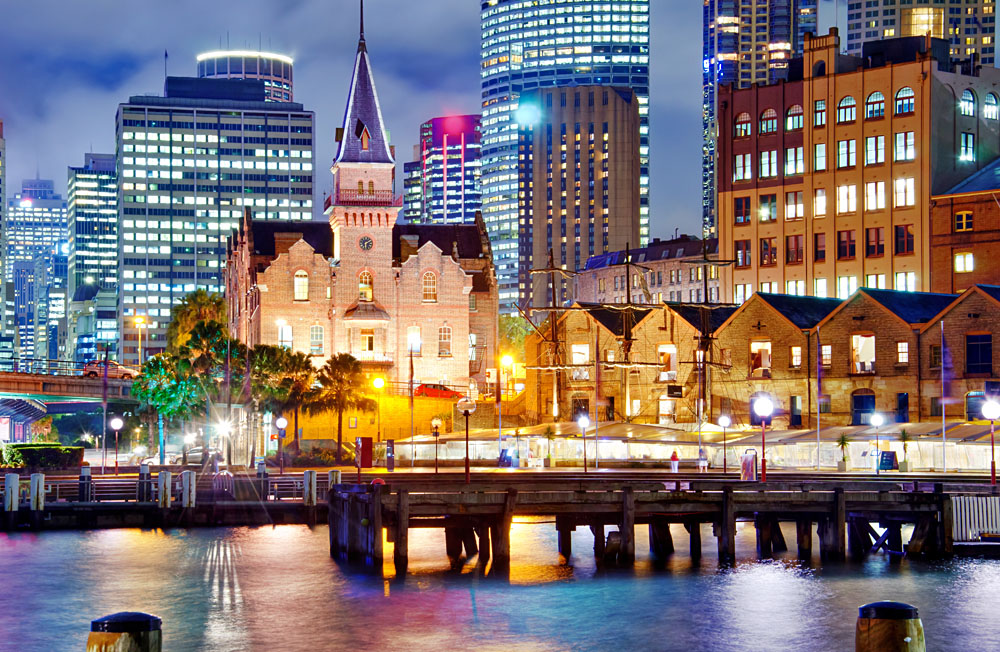 Rocks District at Dusk, Sydney, New South Wales, Australia