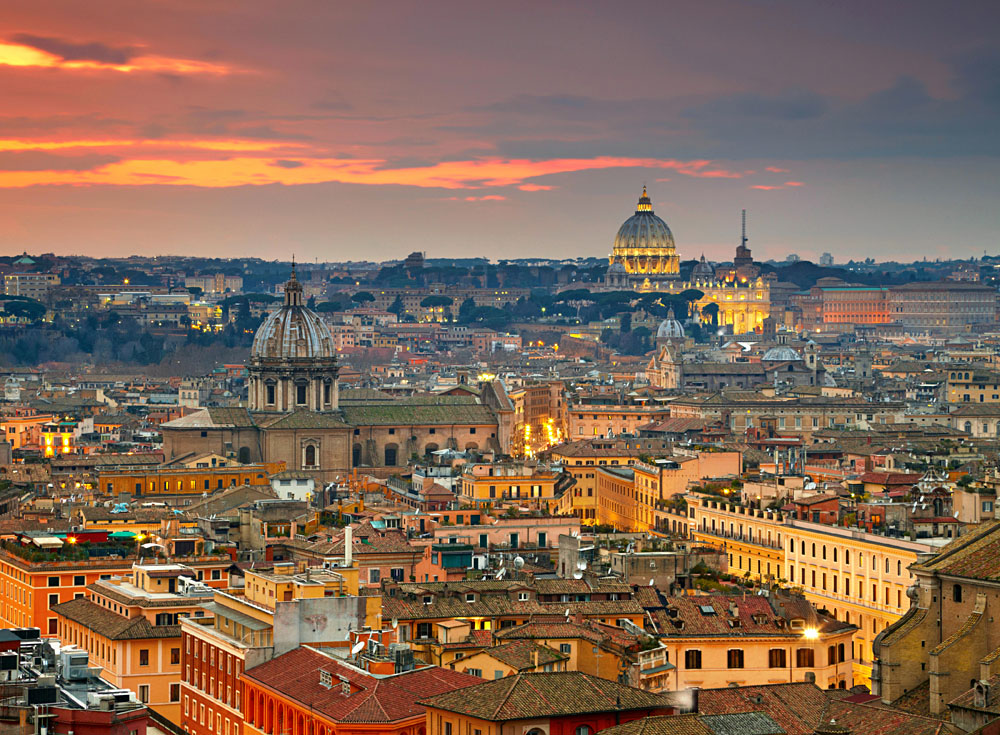 Rome at Sunset with St Peter Cathedral in Background, Italy