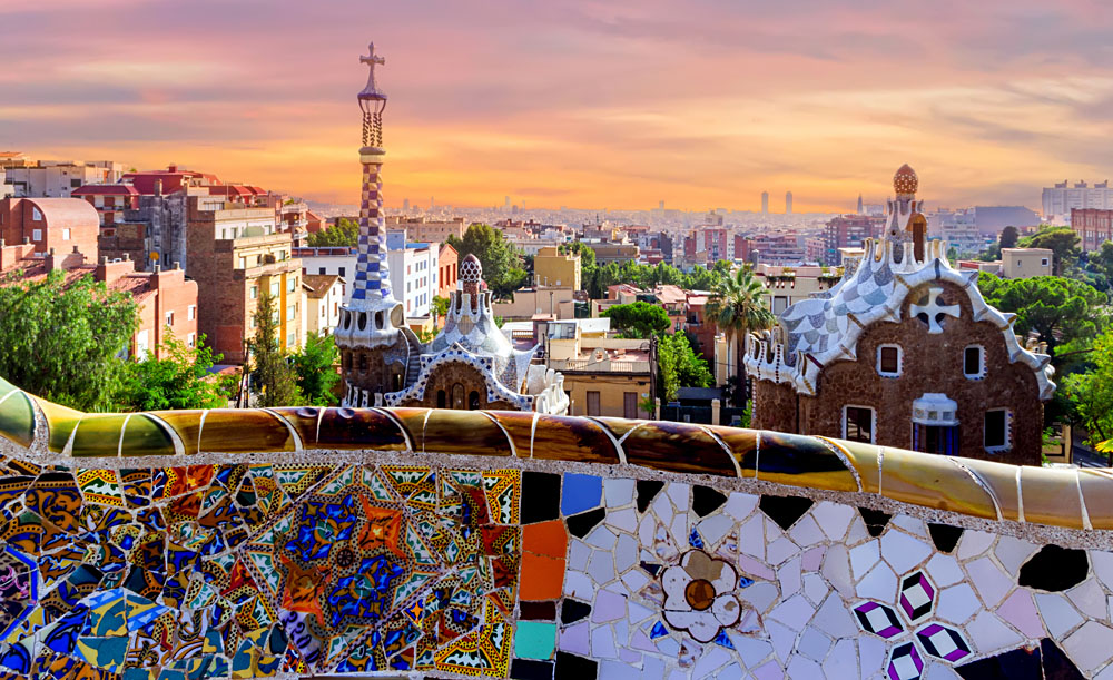 Sunrise at Parc Guell, Barcelona, Spain