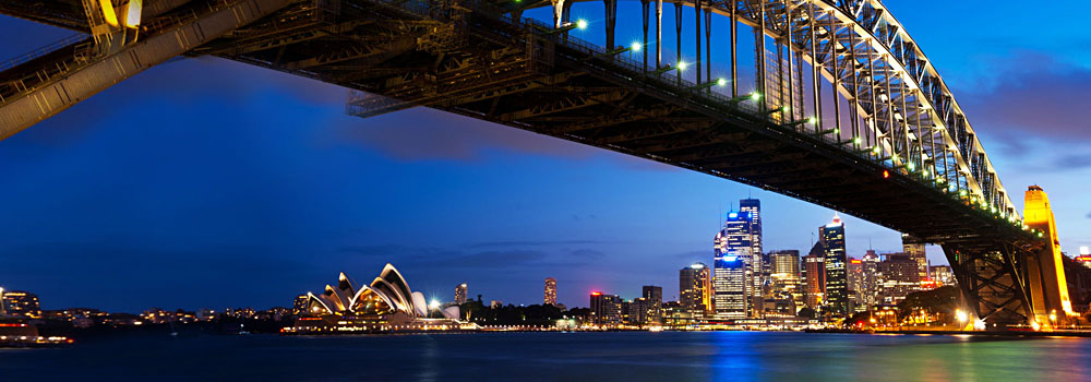 Sydney Bridge and Opera House at Night, New South Wales, Australia