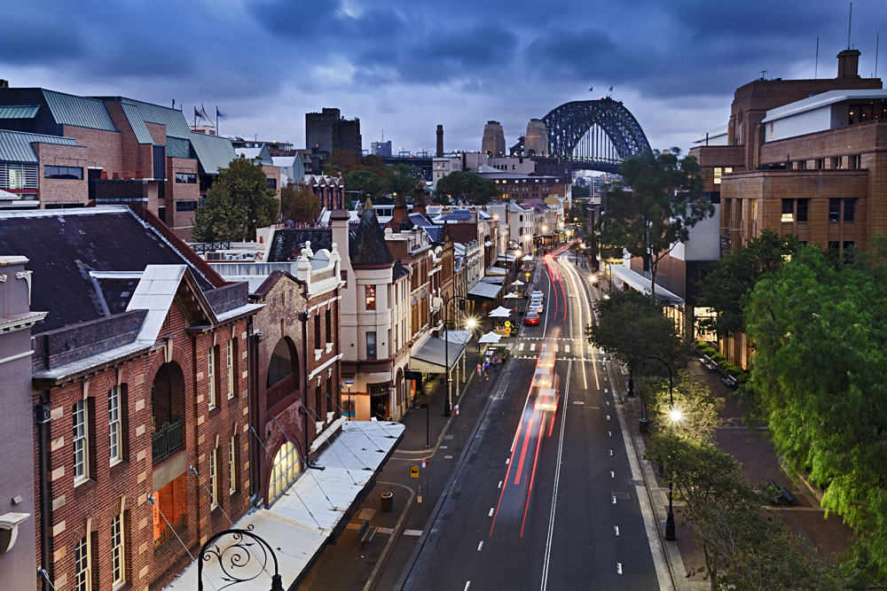 View of the Rocks District from George Street, Sydney, New South Wales, Australia
