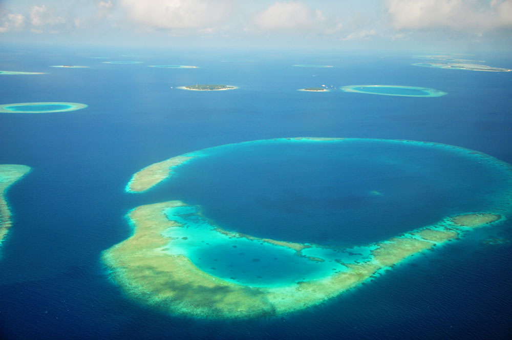 Aerial View of Coral Atolls in the Indian Ocean, Maldives