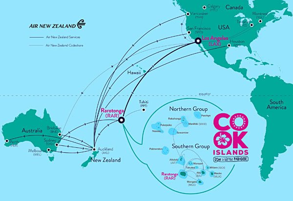 Air New Zealand and Cook Islands Flight Route Map