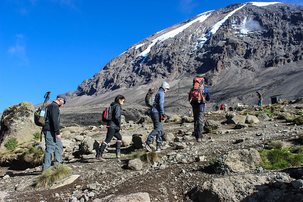 Making Our Way Up Along the Machame Route, Mount Kilimanjaro, Tanzania