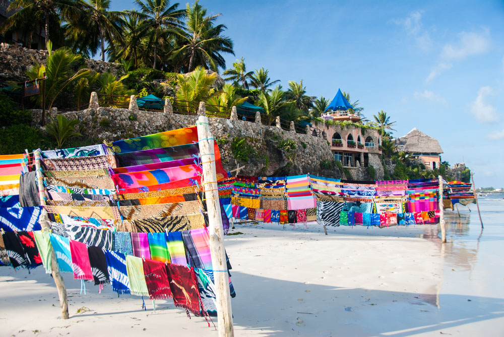 Bright African Fabric for Sale on a Beach in Mombasa, Kenya
