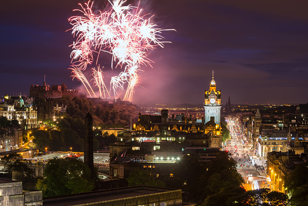 Fireworks Display over Edinburgh Castle and Balmoral Clock Tower at Fringe Festival Finale, Edinburgh, Scotland, UK