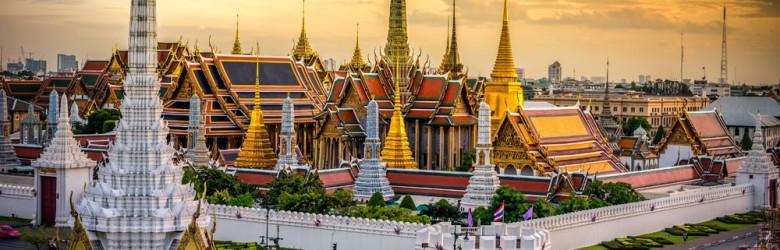 Grand Palace and Wat Phra Keaw at Sunset, Bangkok, Thailand