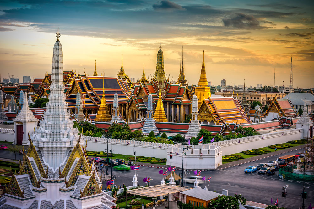 Grand Palace and Wat Phra Keaw at Sunset, Bangkok, Thailand