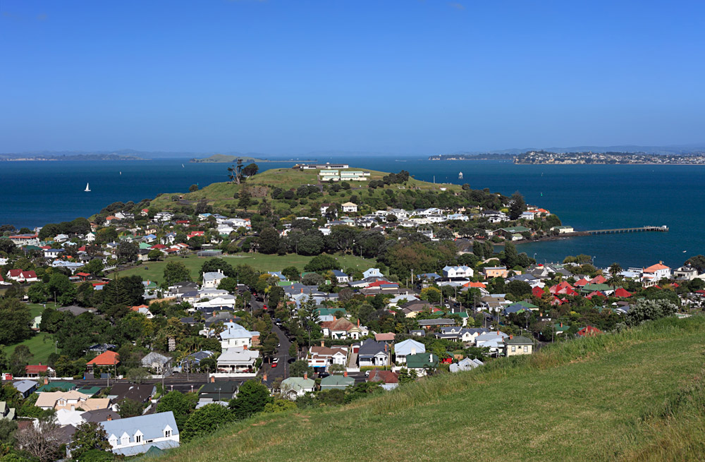 Hauraki Gulf from Mount Victoria in Devonport, Auckland, New Zealand