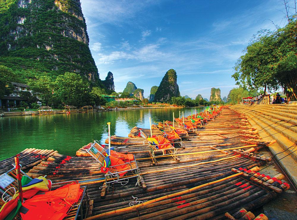 Li River Karst and Rafts at Mount Yangshuo, China