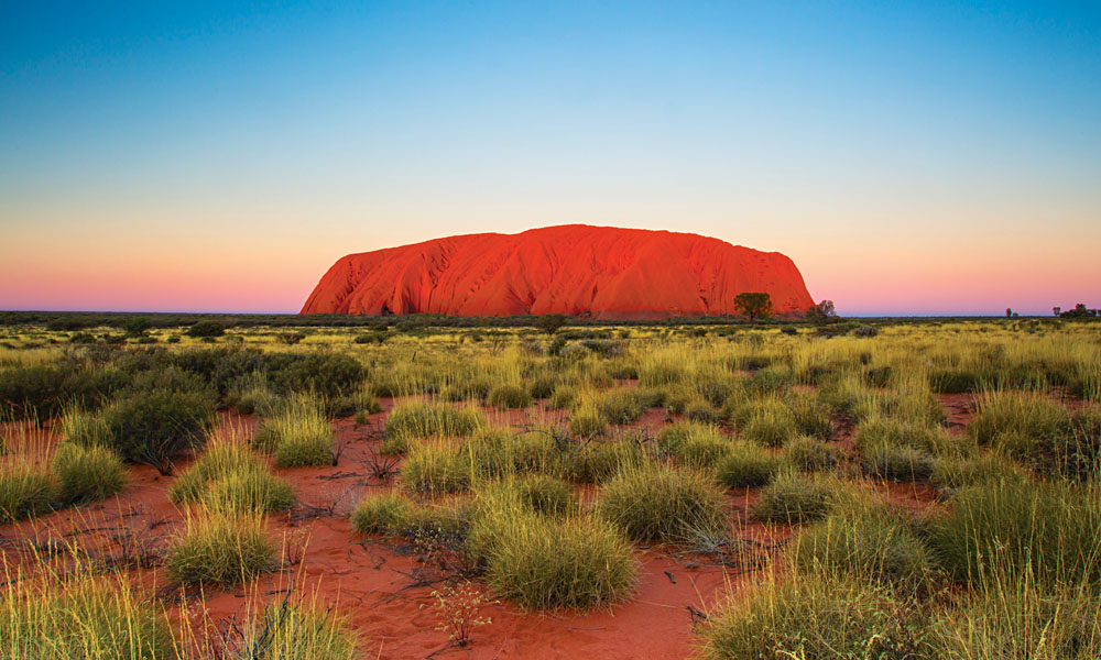 Majestic Ayers Rock Uluru at Sunset, Northern Territory, Australia