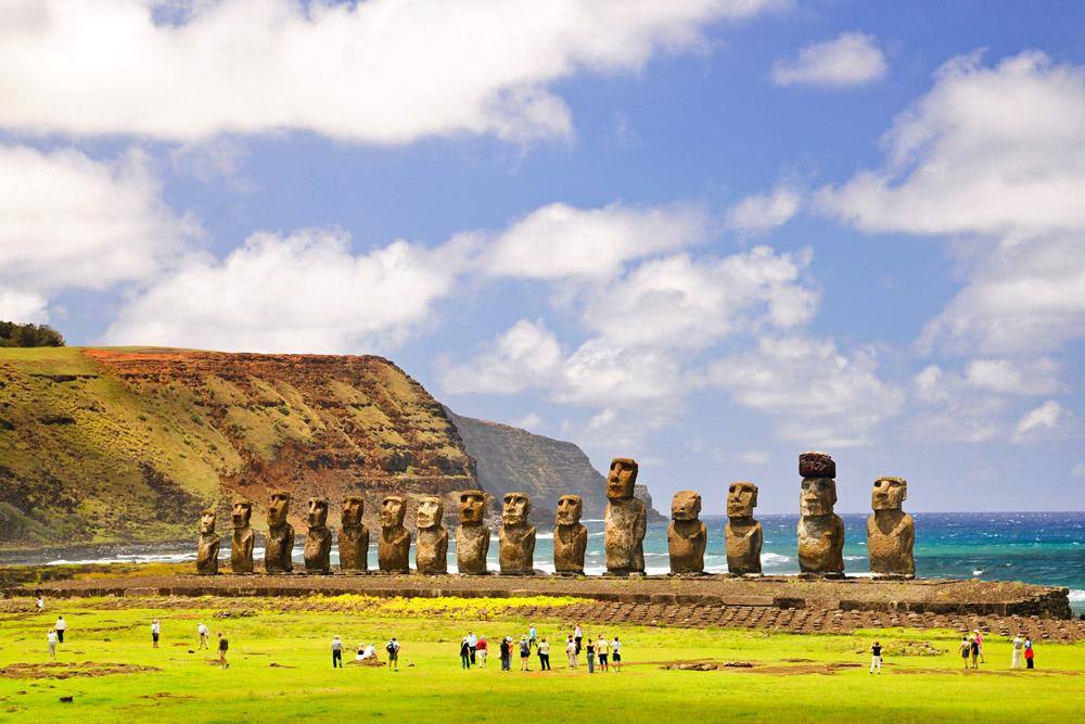 Moais of Ahu Tongariki on Easter Island, Chile