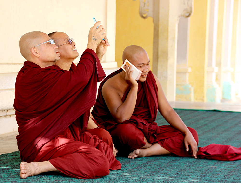 Monks on Cell Phones in Myanmar - photo by Diane Molzan