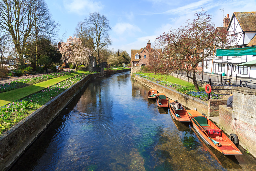 Riverside Scenery on the River Stour at Canterbury, Kent, England, UK
